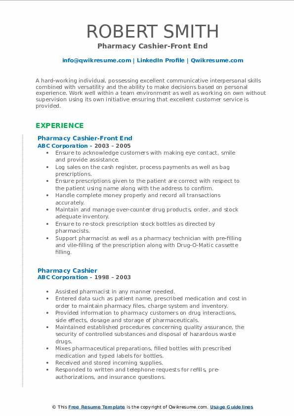 Pharmacy Cashier-Front End Resume Example