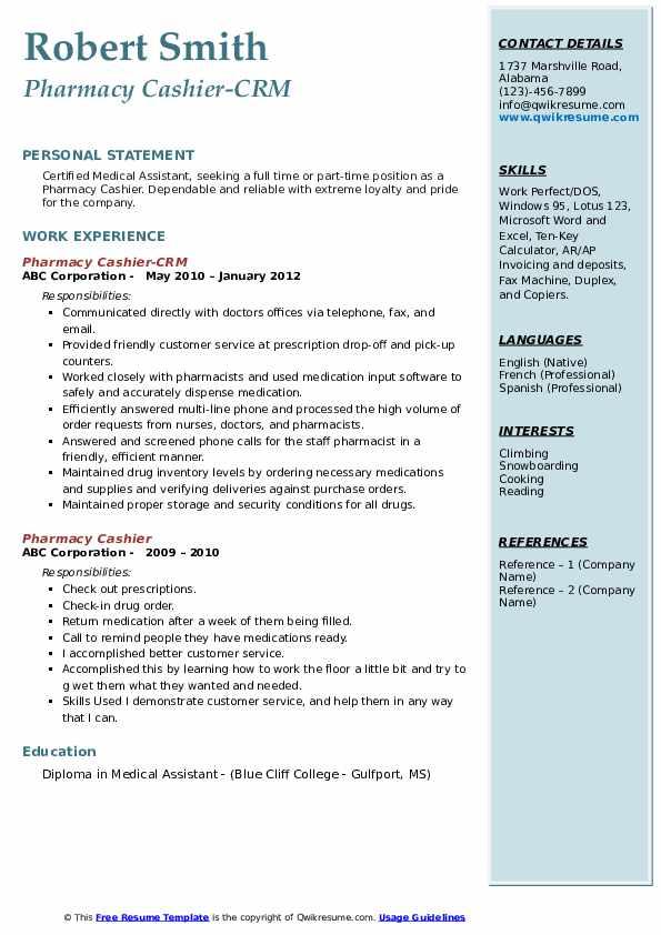 Pharmacy Cashier-CRM Resume Sample