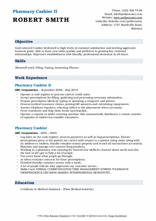 Pharmacy Cashier II Resume Format