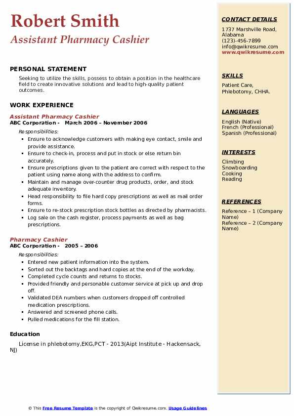 Assistant Pharmacy Cashier Resume Example