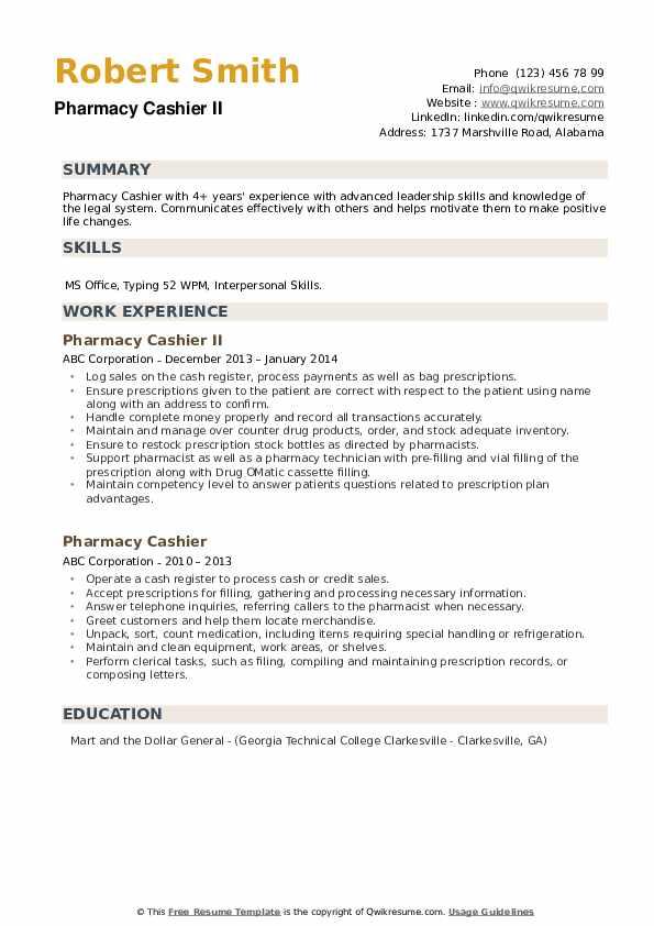Pharmacy Cashier II Resume Model