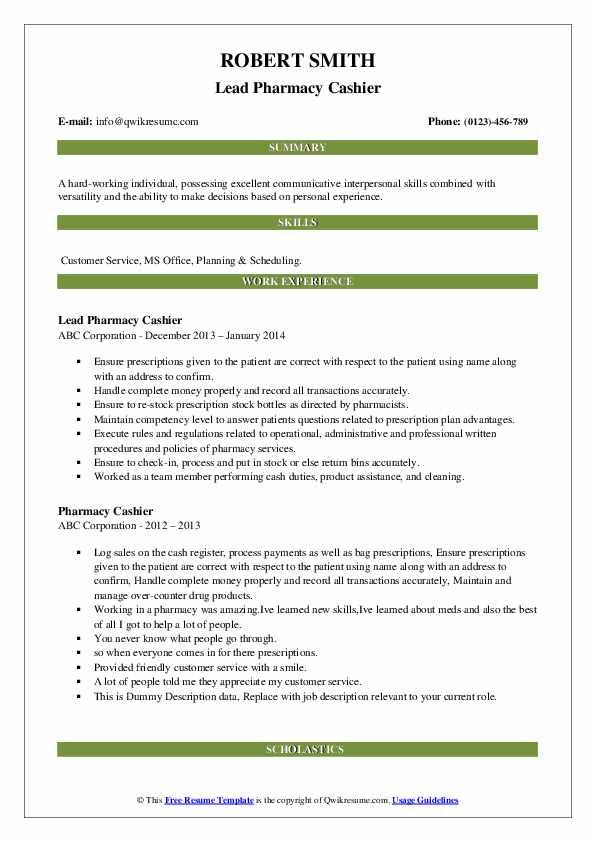 Lead Pharmacy Cashier Resume Model