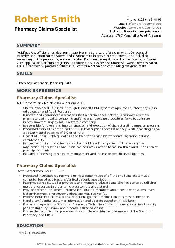Pharmacy Claims Specialist Resume example