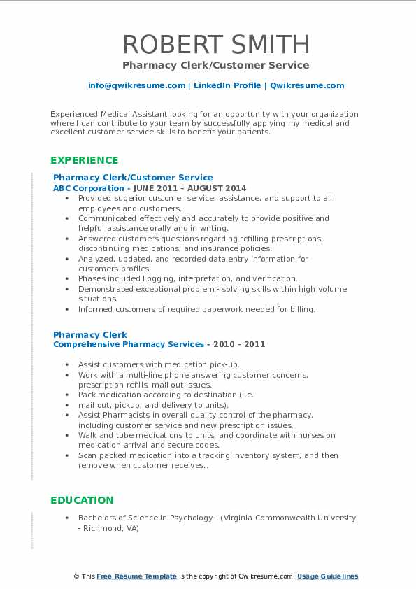 Pharmacy Clerk/Customer Service Resume Template