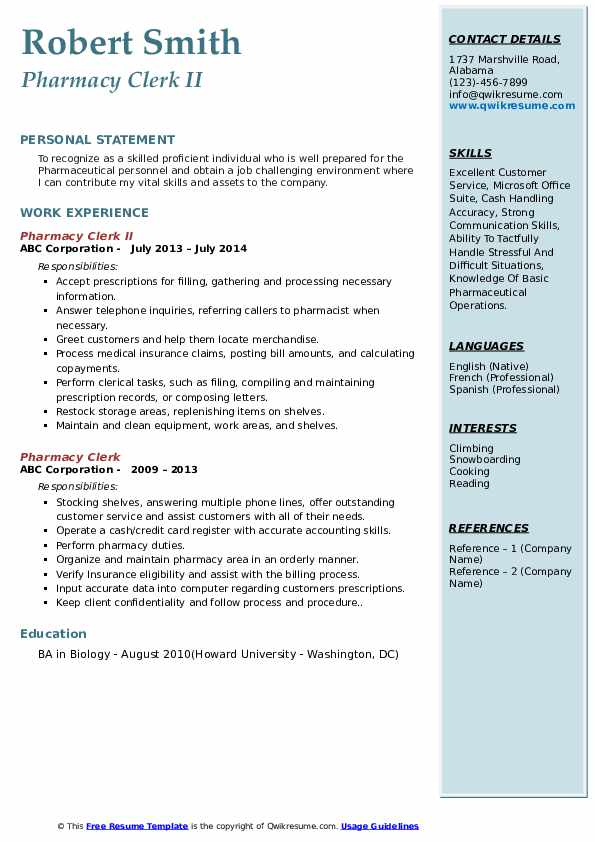 Pharmacy Clerk II Resume Sample