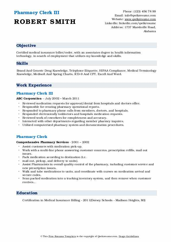 Pharmacy Clerk III Resume Template