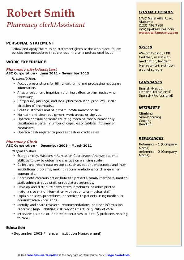 Pharmacy clerk/Assistant Resume Sample