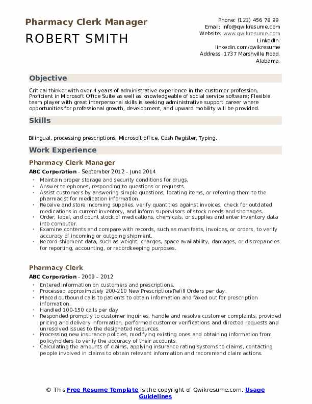 Pharmacy Clerk Manager Resume Template