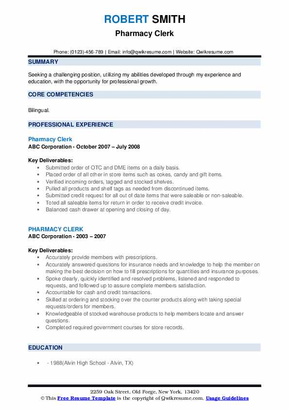 Pharmacy Clerk Resume example