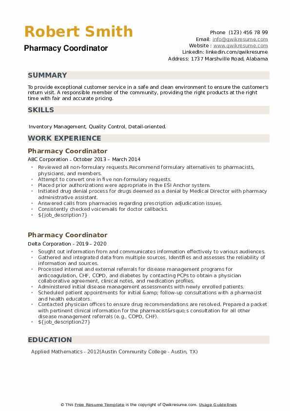 Pharmacy Coordinator Resume example