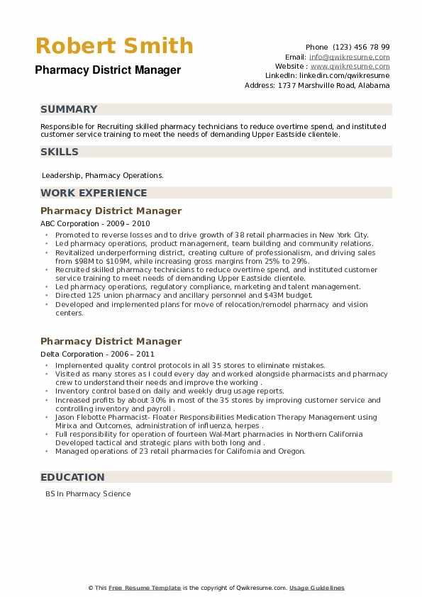 Pharmacy District Manager Resume example