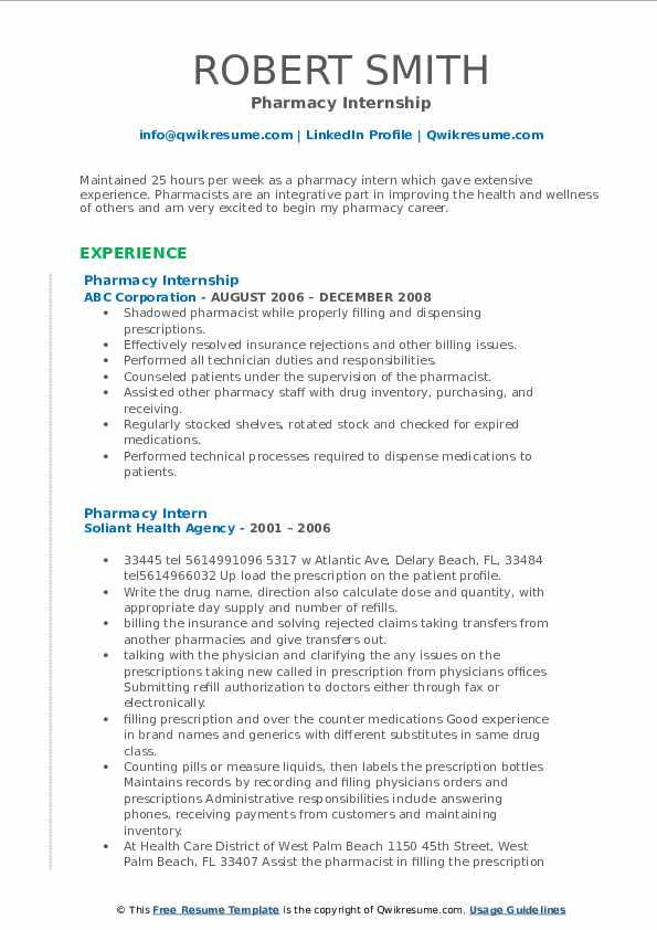 Pharmacy Internship Resume Template