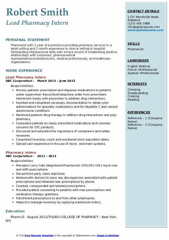 Lead Pharmacy Intern Resume Model