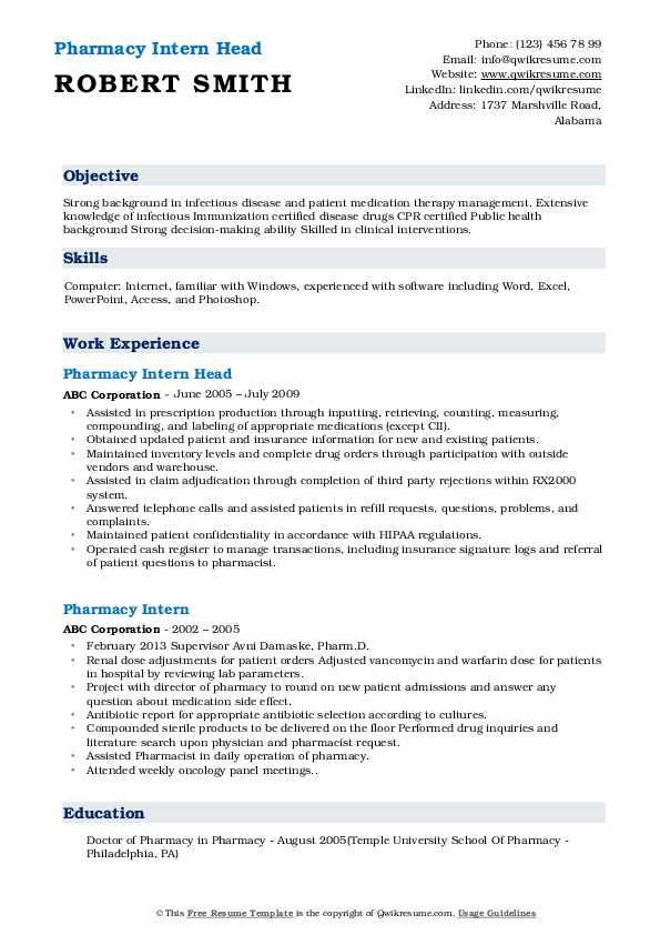 Pharmacy Intern Head Resume Sample