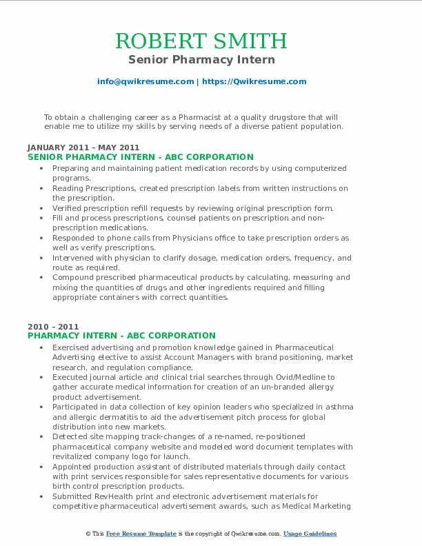 Senior Pharmacy Intern Resume Model