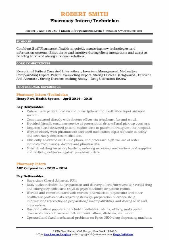 Pharmacy Intern/Technician Resume Format