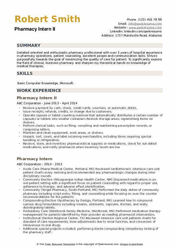 Pharmacy Intern II Resume Sample