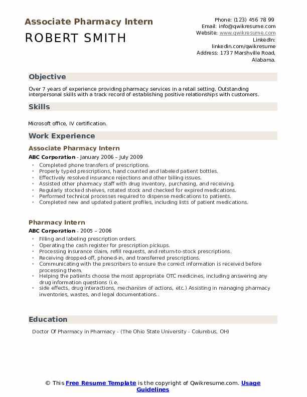 Associate Pharmacy Intern Resume Template