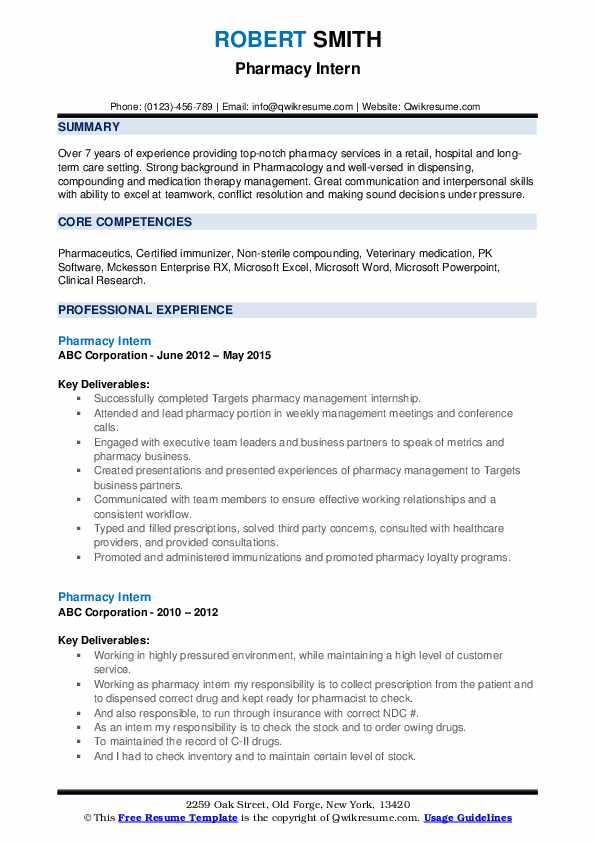 Pharmacy Intern Resume example