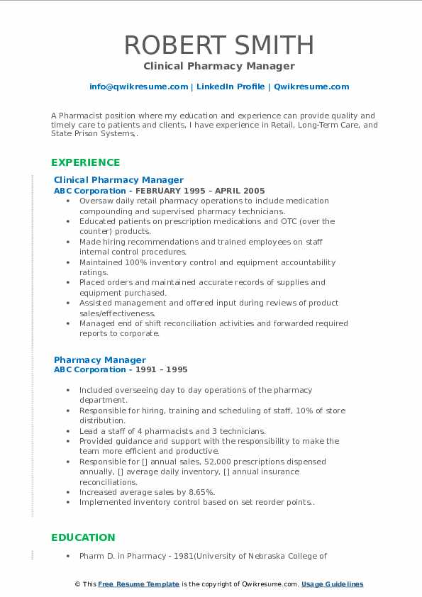 Clinical Pharmacy Manager Resume Model