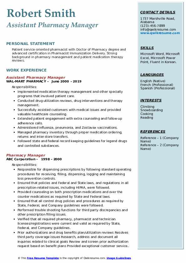Assistant Pharmacy Manager Resume Model