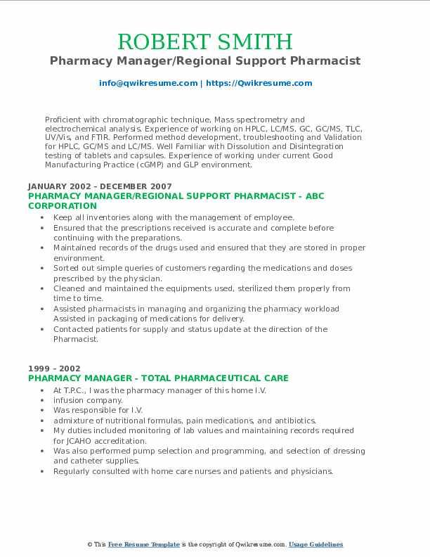 Pharmacy Manager/Regional Support Pharmacist Resume Sample