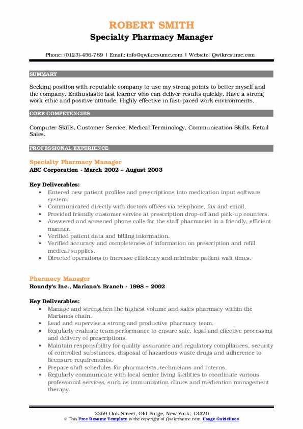 Specialty Pharmacy Manager Resume Example
