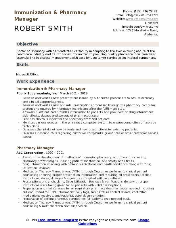 Immunization & Pharmacy Manager Resume Model