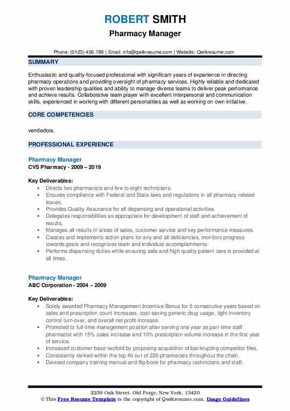Pharmacy Manager Resume Samples | QwikResume