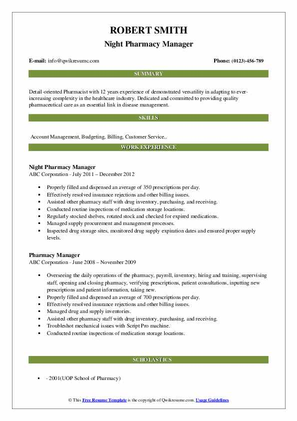 Pharmacy Clerk III Resume Format