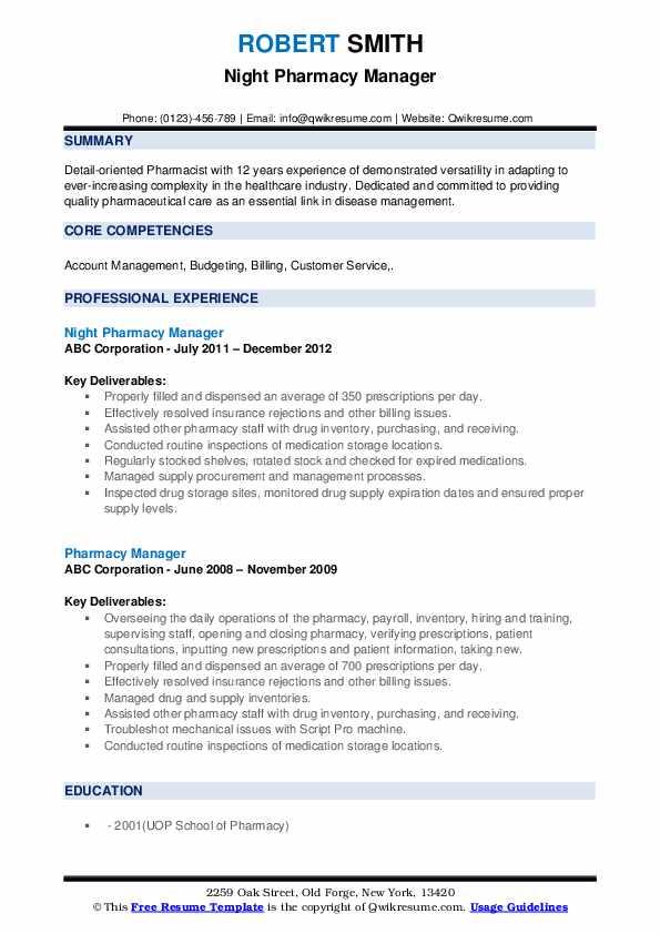 Paid Pharmacy Intern Resume Format