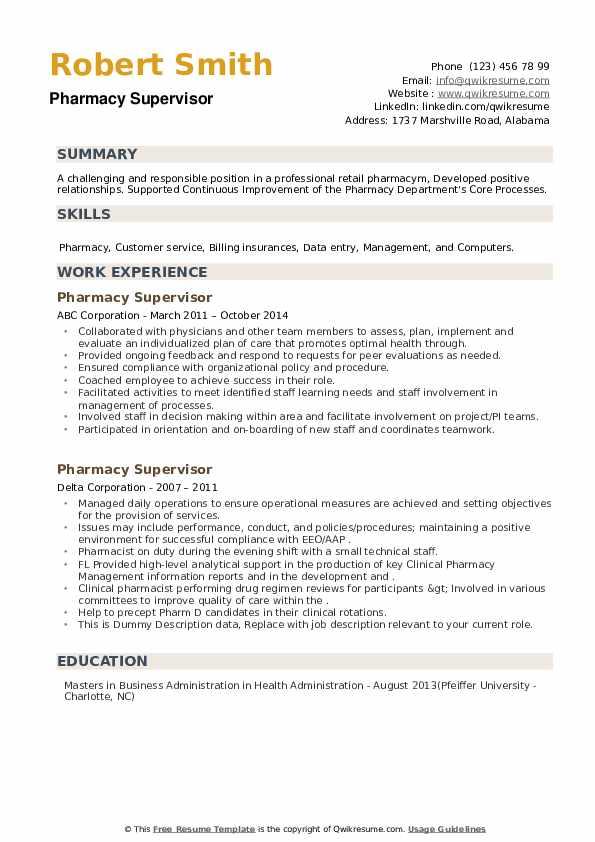 Pharmacy Supervisor Resume example
