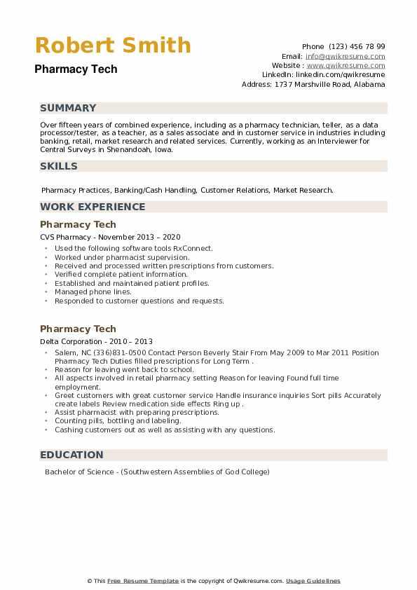 Pharmacy Tech Resume example