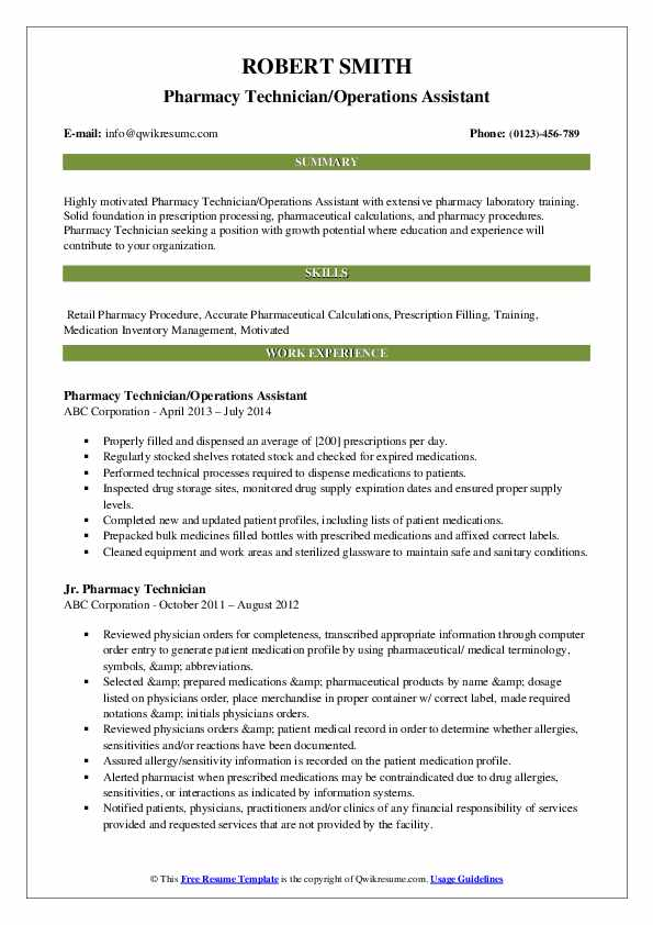 Pharmacy Technician/Operations Assistant Resume Example