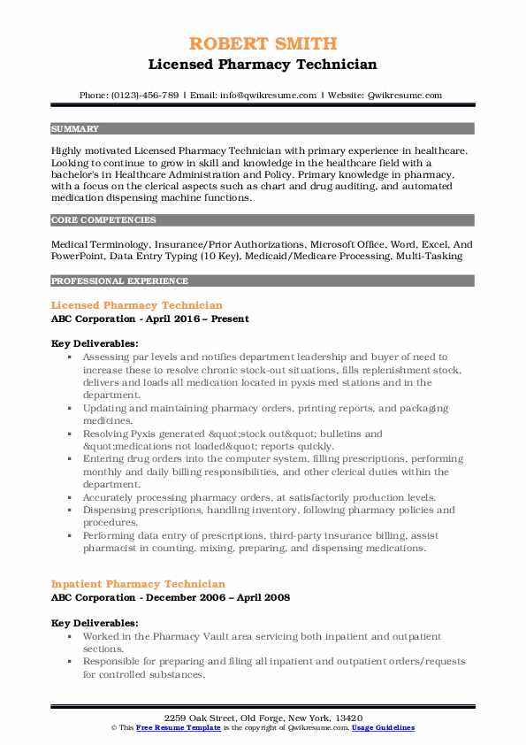 Licensed Pharmacy Technician Resume Template
