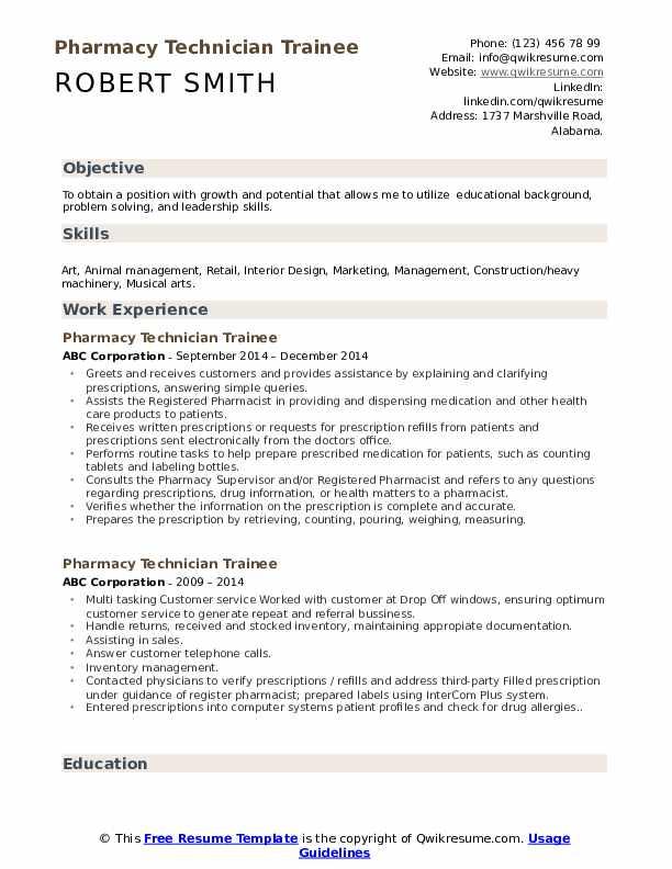Pharmacy Technician Trainee Resume Format