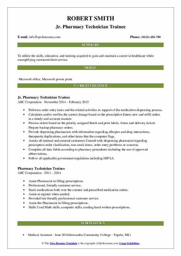 Jr. Pharmacy Technician Trainee Resume Format