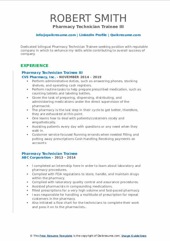Pharmacy Technician Trainee III Resume Example