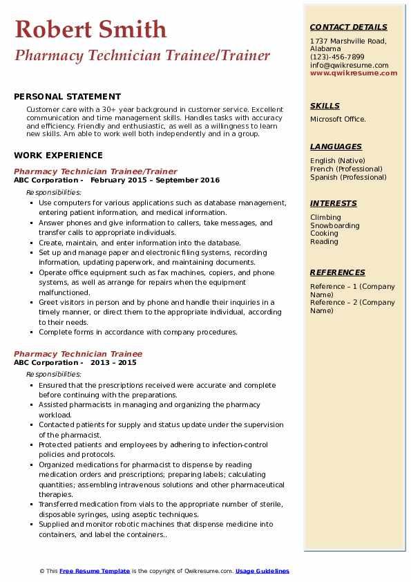 Pharmacy Technician Trainee/Trainer Resume Template