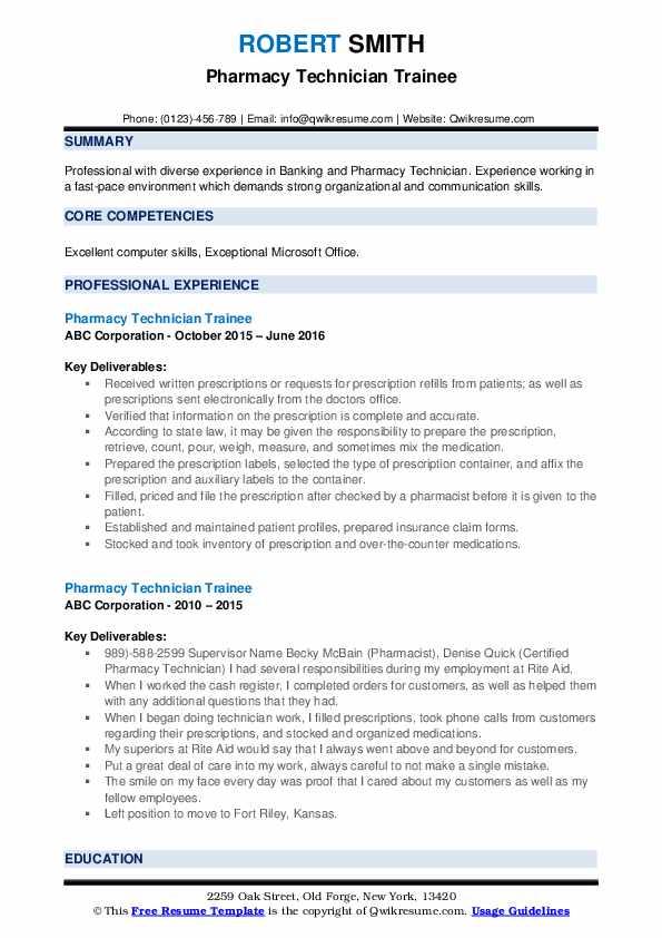 Pharmacy Technician Trainee Resume example