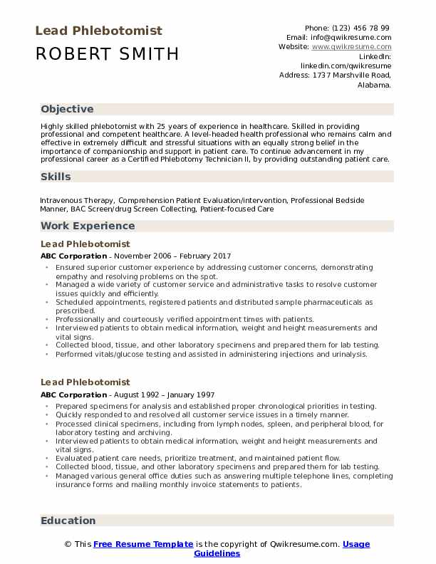 Phlebotomist Resume Samples Qwikresume
