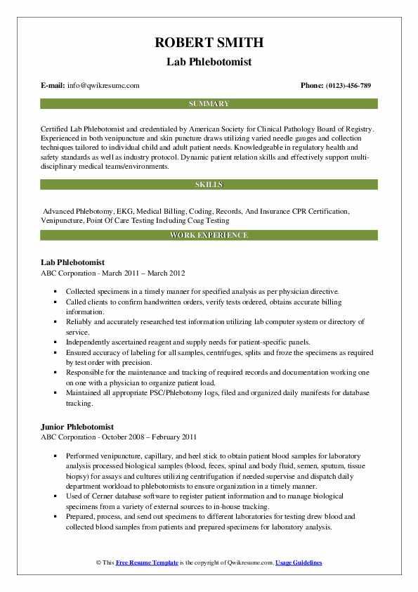 Lab Phlebotomist Resume Model