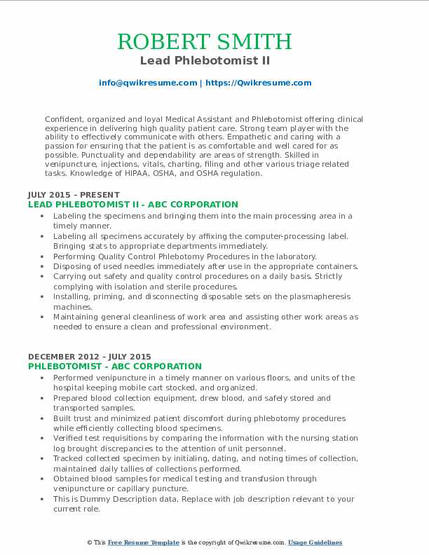 Lead Phlebotomist II Resume Model