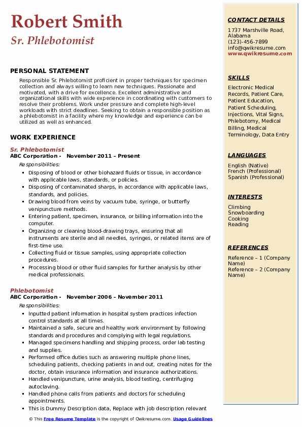phlebotomist resume samples