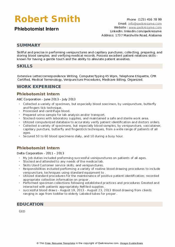 Phlebotomist Intern Resume example