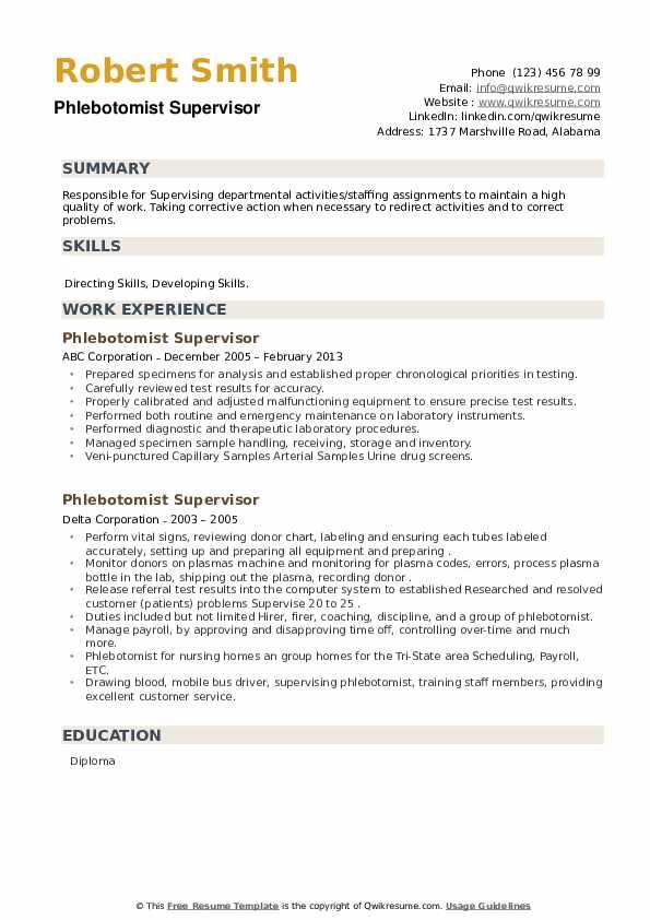 Phlebotomist Supervisor Resume example