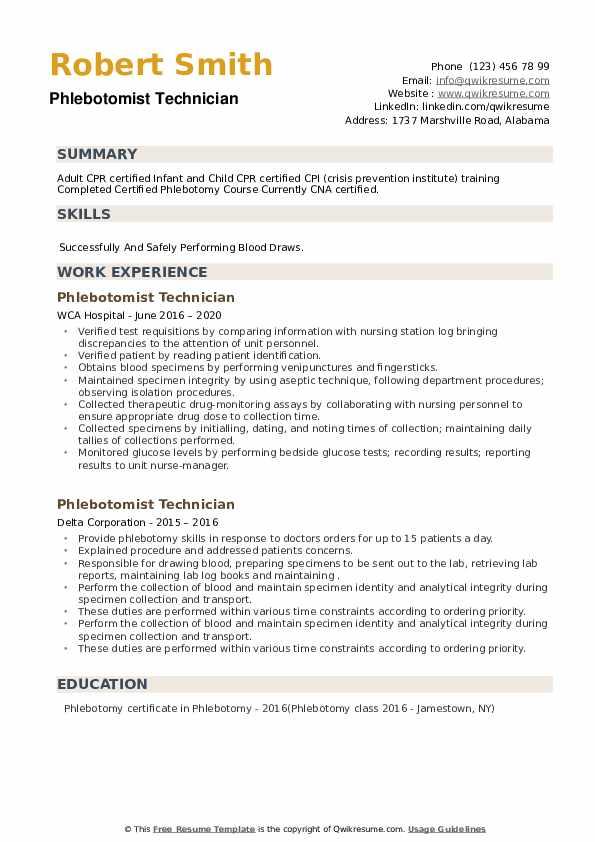 Phlebotomist Technician Resume example