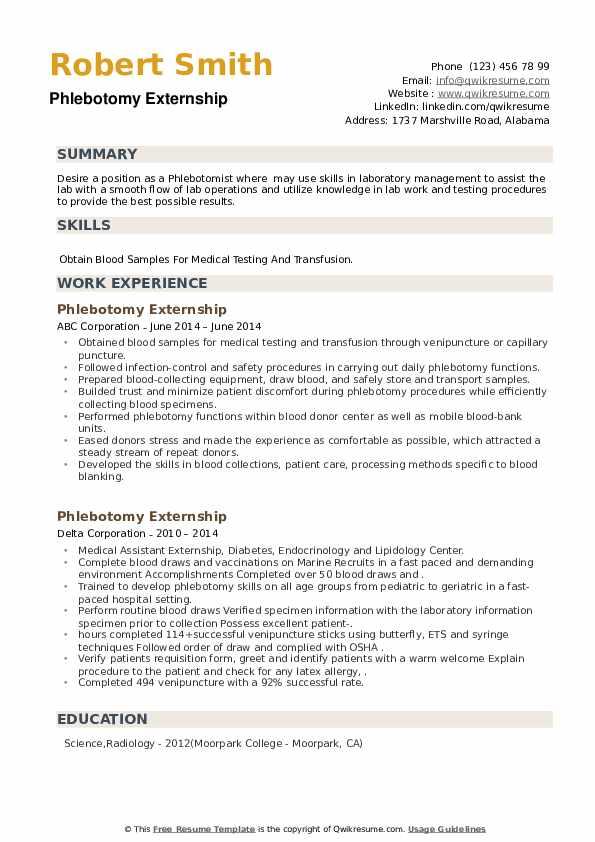 Phlebotomy Externship Resume example