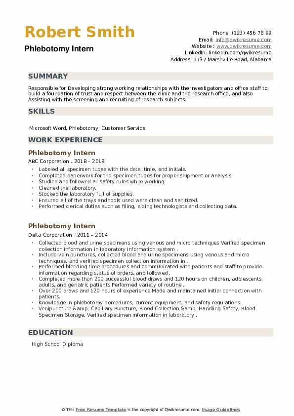 Phlebotomy Intern Resume example