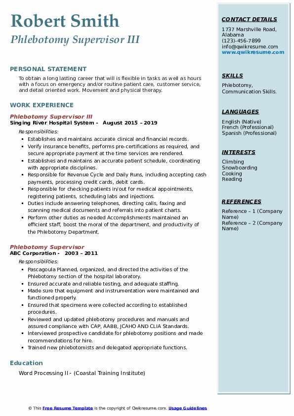phlebotomy supervisor resume samples